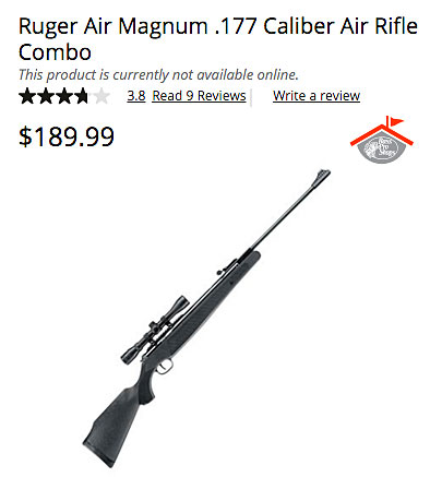 Bass Pro Shop online listing for a Ruger air rifle