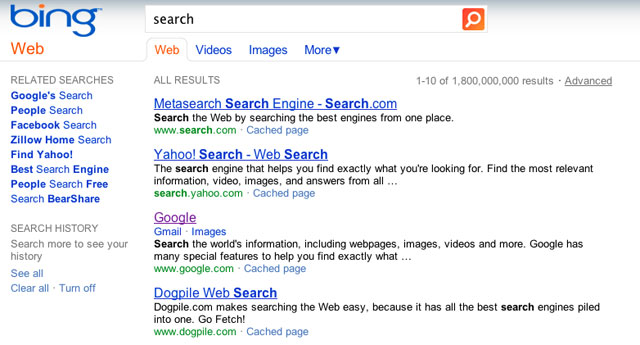 Screenshot of search results page
