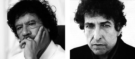 Photo - Side by side: Gaddafi and Dylan