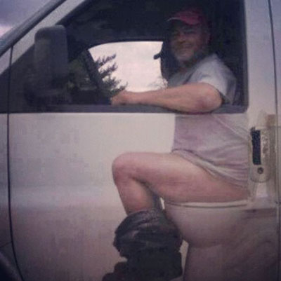 Photo - Truck door decal - driver on toilet
