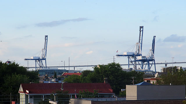 Container cranes at the docks