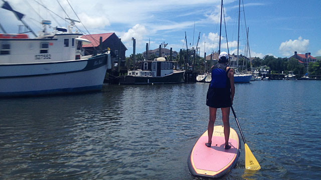 Debbie paddleboarding on Shem Creek