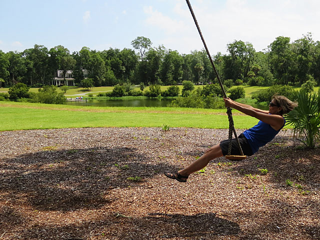 Debbie on a rope swing