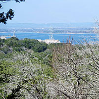 In places, you can catch a brief view of Lake LBJ