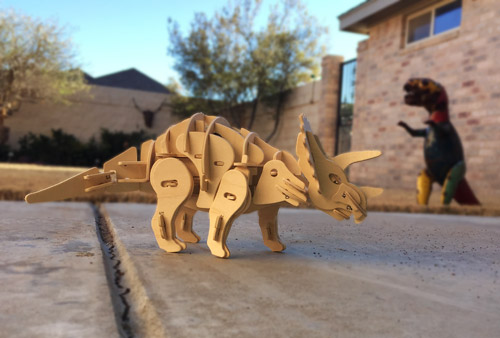 Completed triceratops 3D puzzle