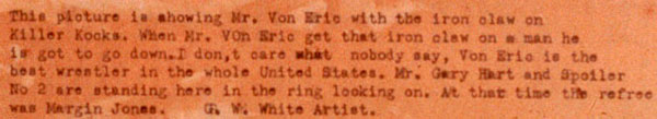 Photo - 'Wrestling' - Painting by George W White - Closeup of label with artist's description of painting