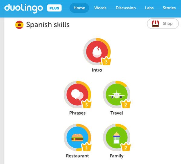 Screen capture of Duolingo's lessons