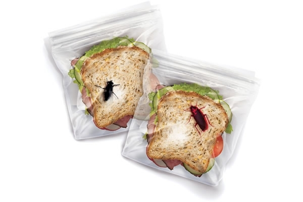 Sandwich bags with embedded fake insects