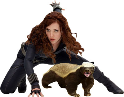 Scarlett and her battle badger