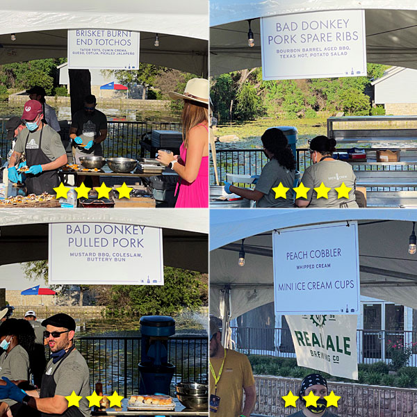 Photo collage of Beer By The Bay food booths on Friday