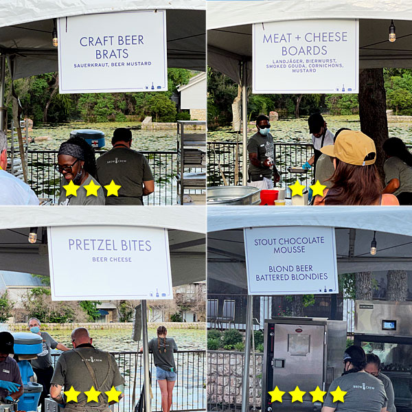 Photo collage of Beer By The Bay food booths on Saturday