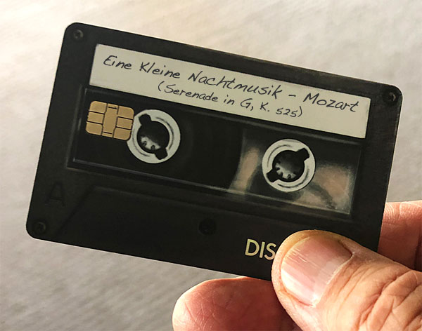 Photo - credit card labeled 'Eine Kleine Nachtmusik - Mozart'