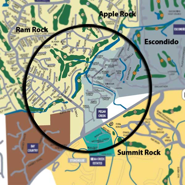 Locator map showing golf courses more or less adjacent to our house