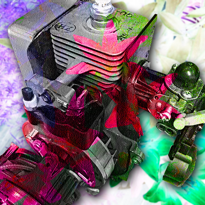 Photo - A two-stroke engine overlaid with a floral patter
