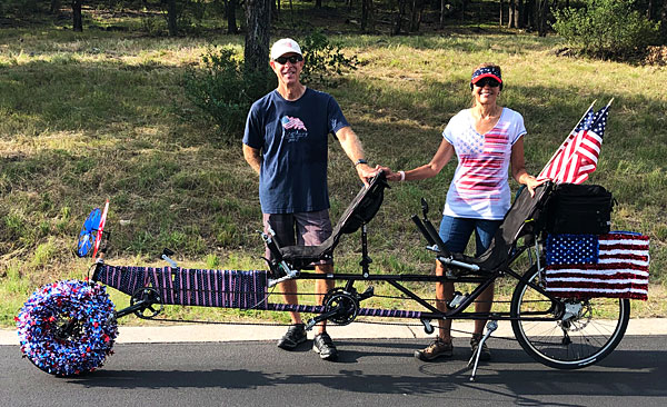 MLB and I pose with our decorated recumbent tandem