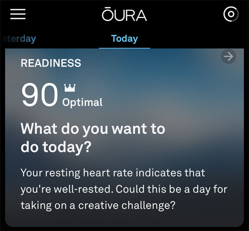 Screen capture of an Oura ring information screen