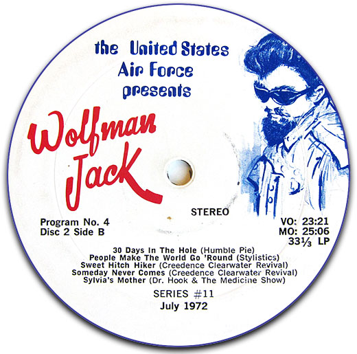 Label from a 1972 US Air Force promotional LP record featuring Wolfman Jack